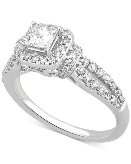 Macy's - Metallic Diamond Halo Engagement Ring (1 Ct. T.w.) In 14k White Gold - Lyst