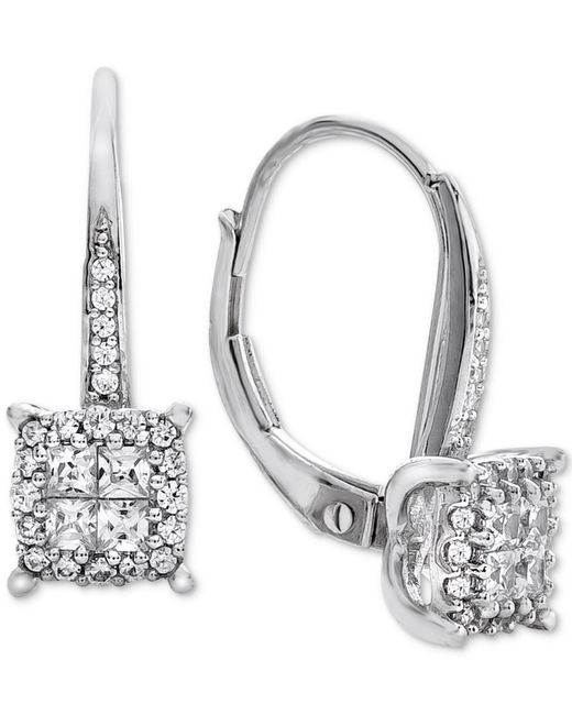 Macy's - Metallic Diamond Cluster Drop Earrings (1/2 Ct. T.w.) In 14k White Gold (also Available In 14k Rose Gold & 14k Yellow Gold) - Lyst