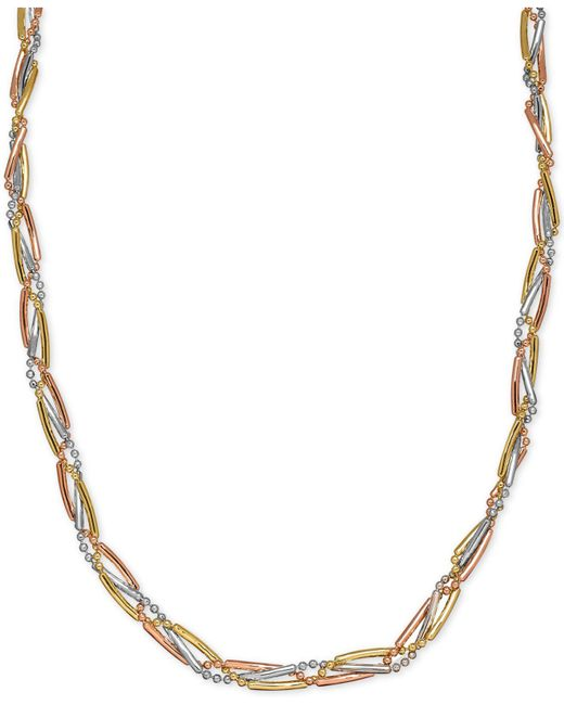 Macy's | Metallic Tri-color Bar And Bead Link Collar Necklace In 14k Yellow, White And Rose Gold | Lyst
