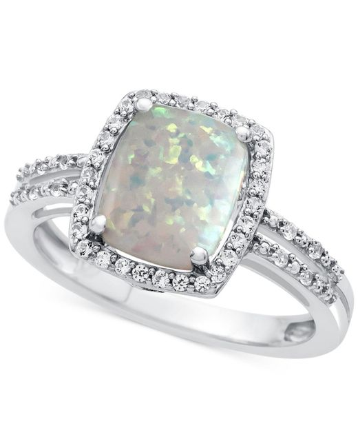 Macy's - Lab-created Opal (7/8 Ct. T.w.) And White Sapphire (1-1/3 Ct. T.w.) Ring In Sterling Silver - Lyst