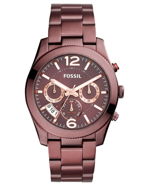 Fossil - Women's Perfect Boyfriend Red-tone Stainless Steel Bracelet Watch 39mm Es4110 - Lyst