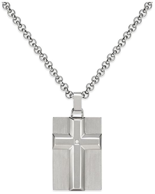 Macy's - Metallic Men's Diamond Accent Raised Cross Pendant Necklace In Stainless Steel for Men - Lyst