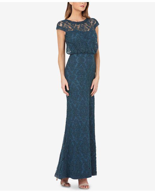 JS Collections - Blue Illusion Soutache Gown - Lyst