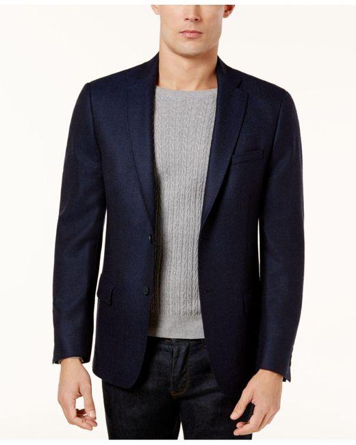 Calvin Klein - Blue Men's Slim-fit Navy Birdseye Soft Jacket for Men - Lyst