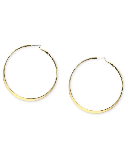 Nine West - Metallic Earrings, Gold-tone Hoop Earrings - Lyst