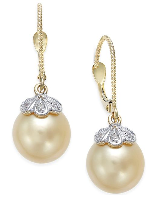 Macy's | Natural Cultured Golden South Sea Pearl (10mm) And Diamond Accent Earrings In 14k Gold | Lyst