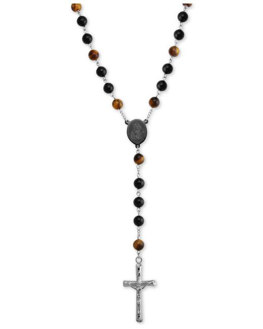 """Macy's - Metallic Tiger' Eye (5mm) And Black Agate Stone Cross 28"""" Lariat Necklace In Stainless Steel - Lyst"""