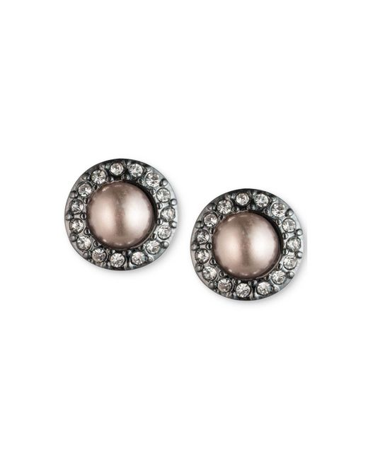Carolee | Pink Hematite-tone Pavé & Gray Imitation Pearl Stud Earrings | Lyst
