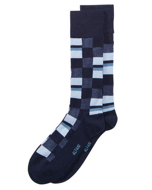 Alfani - Blue Mosaic Boxes Dress Socks, Created For Macy's for Men - Lyst