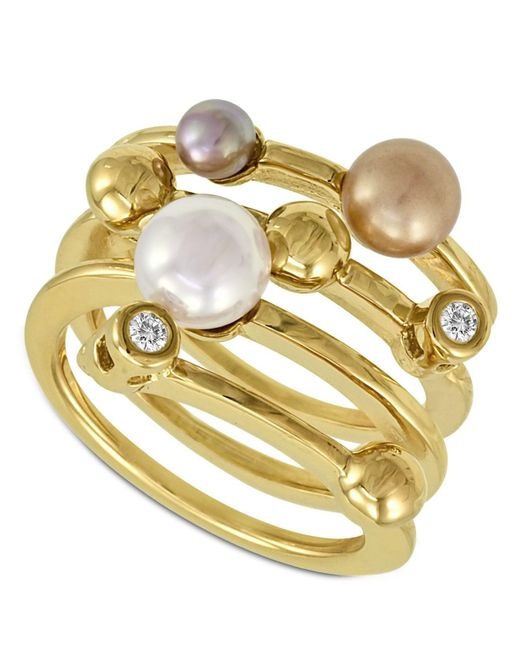 Majorica - White Endless Pearl Ring, 18k Gold Over Sterling Silver Multicolor Organic Man Made Pearl Ring - Lyst