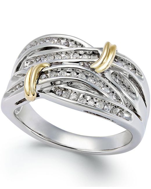 Macy's - Metallic Diamond Multi-row Ring In 14k Gold And Sterling Silver (1/4 Ct. T.w.) - Lyst