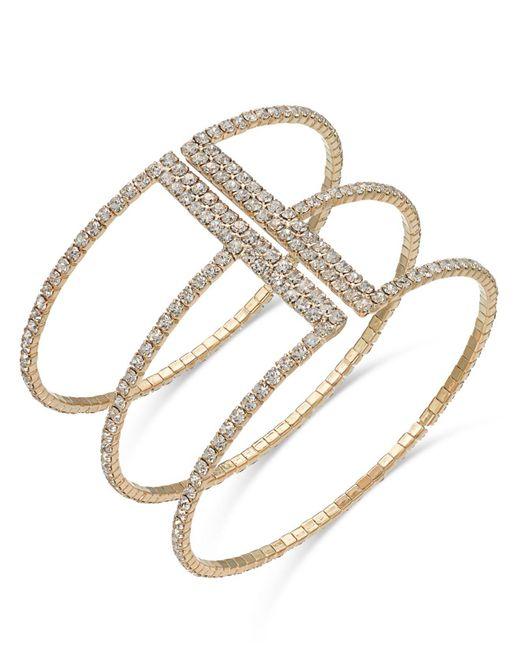 INC International Concepts - Metallic Gold-tone Crystal Triple Row Flex Bracelet - Lyst