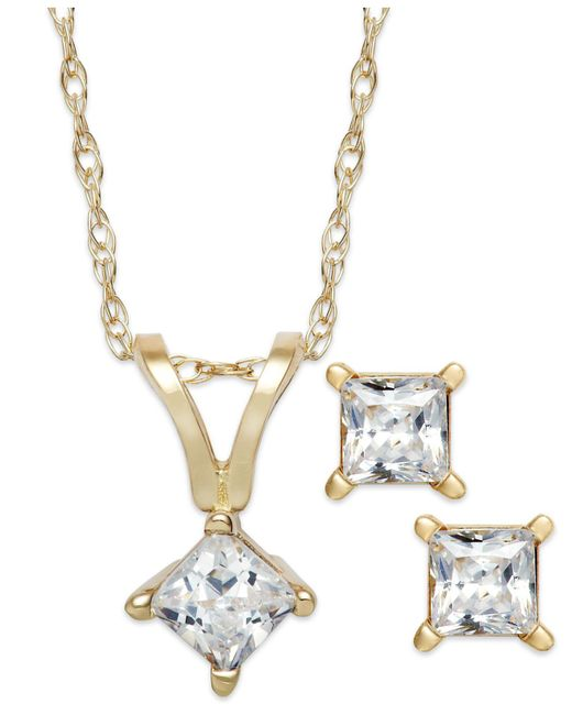 Macy's - Metallic Princess-cut Diamond Pendant Necklace And Earrings Set In 10k White Gold (1/6 Ct. T.w.) - Lyst