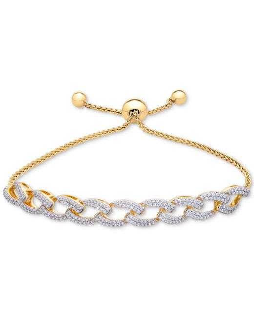 Wrapped in Love - Metallic Tm Diamond Link Bolo Bracelet (1 Ct. T.w.) In 14k Gold-plated Silver, Created For Macy's - Lyst