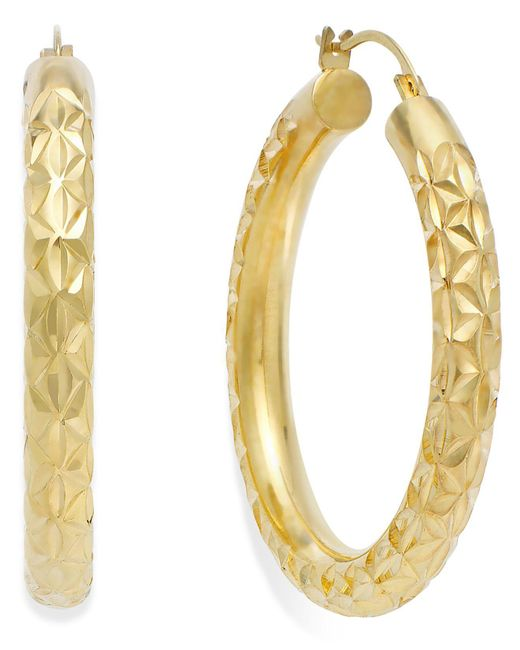 Signature Gold - Metallic Diamond-cut Hoop Earrings In 14k Gold - Lyst