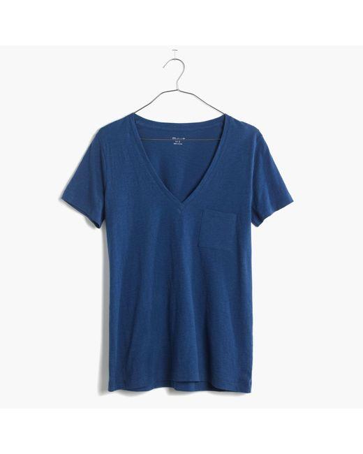 Madewell   Blue Whisper Cotton V-neck Pocket Tee   Lyst