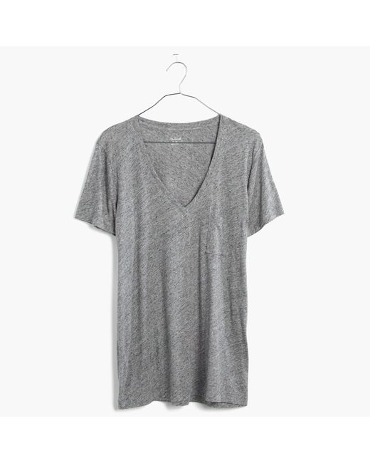 Madewell | Gray Whisper Cotton V-neck Pocket Tee | Lyst