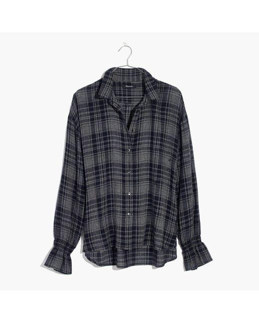 Madewell | Blue Westward Bell-sleeve Shirt In Plaid | Lyst