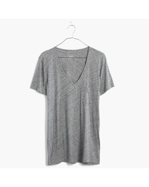 Madewell | Gray Whisper Cotton V-neck Pocket Tee | Lyst