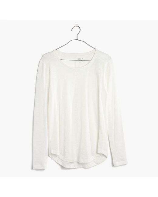 Madewell | White Whisper Cotton Long-sleeve Crewneck Tee | Lyst