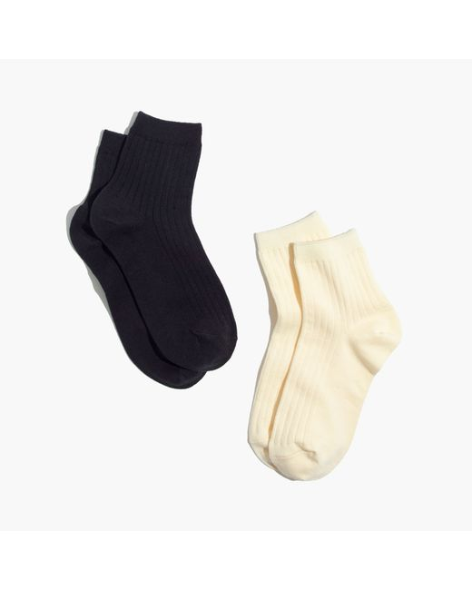 Madewell | Black Two-pack Ribbed Heather Ankle Socks | Lyst