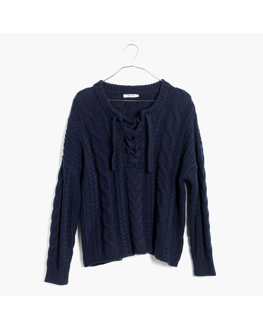 Madewell | Blue Lace-up Pullover Sweater In Cableknit | Lyst