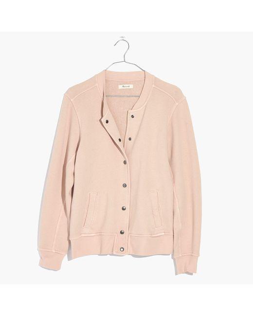 Madewell | Pink Bomber Sweatshirt | Lyst