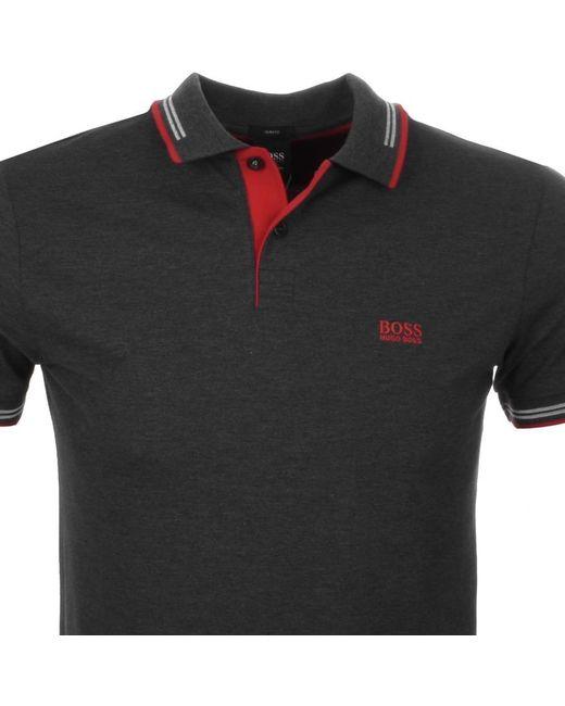 BOSS Green - Gray Paul Polo T Shirt Grey for Men - Lyst