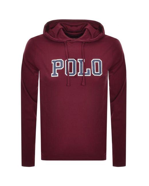Ralph Lauren Red Long Sleeved Hooded T Shirt Burgundy for men