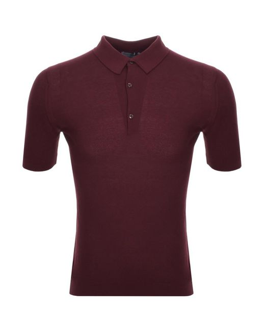 John Smedley - Red Roth Knit Polo T Shirt Burgundy for Men - Lyst