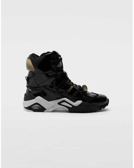 Maison Margiela Black Retro Fit High Top Patent Sneakers for men