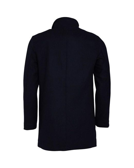 003ff27cf96 ... French Connection - Blue Single Breasted Funnel Wool Jacket Marine for  Men - Lyst