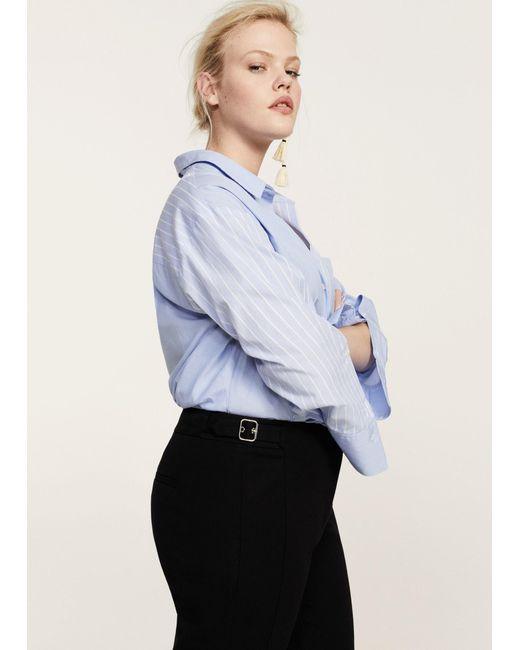 Violeta by Mango - Black Decorative Buckle Trousers - Lyst