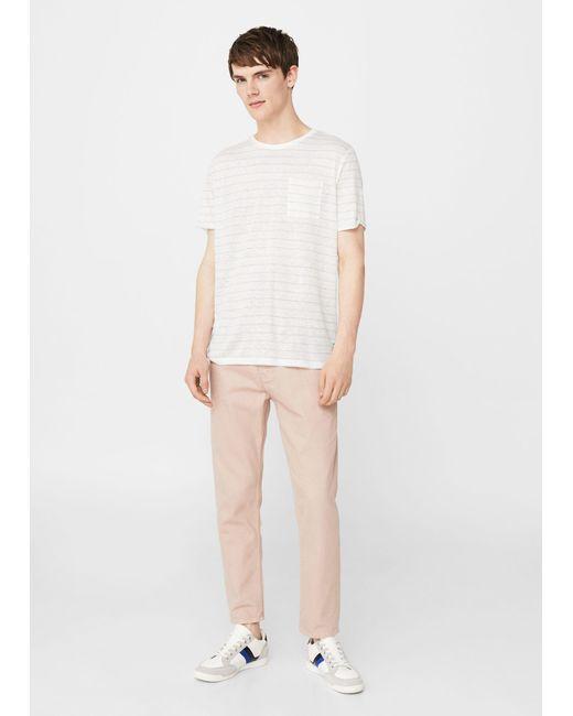 Mango | White Striped Linen-blend T-shirt for Men | Lyst