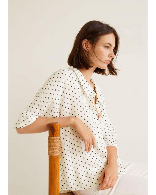 Mango - White Flowy Printed Blouse - Lyst