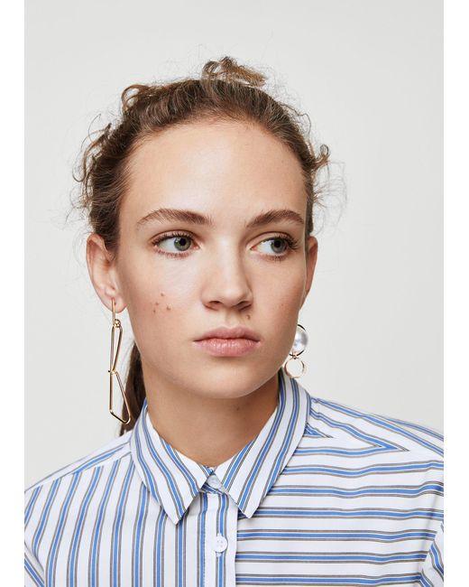 Mango - Metallic Mixed Asymmetric Earrings - Lyst