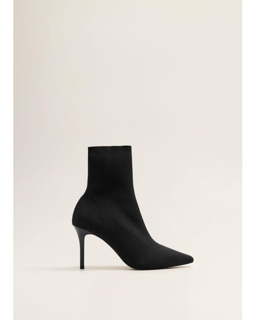 c5166516f96 Lyst Mango Heel Sock Boots In Black Save 51