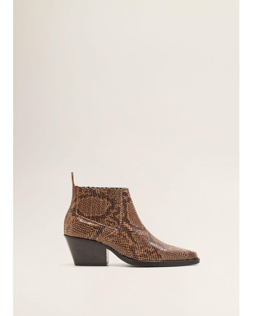1bedb935827 Mango - Brown Leather Pointed Ankle Boots - Lyst ...