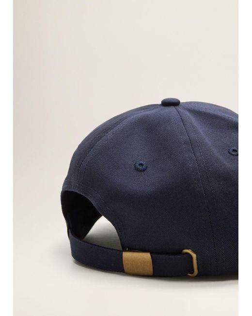Mango - Blue Embroidered Cotton Cap for Men - Lyst