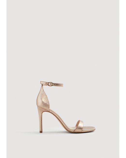 Mango - Metallic Heel Sandals - Lyst