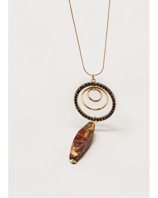 Violeta by Mango | Metallic Stone Pendant Necklace | Lyst