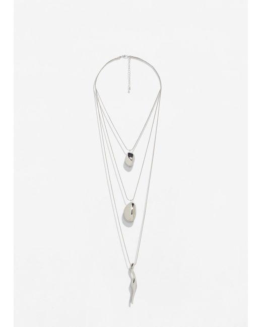 Mango | Metallic Pendant Waterfall Necklace | Lyst