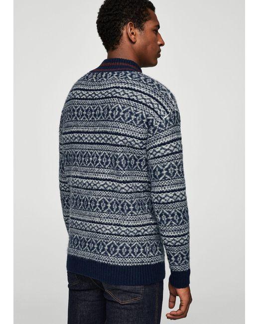 Mango Fair Isle Sweater in Blue for Men | Lyst