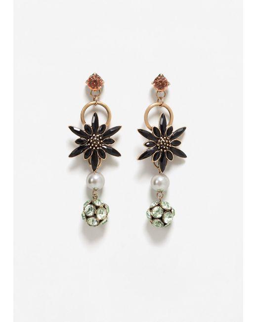 Mango   Metallic Faceted Crystal Earring   Lyst