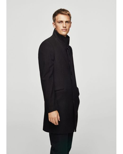 Mango | Black Wool Funnel Neck Coat for Men | Lyst