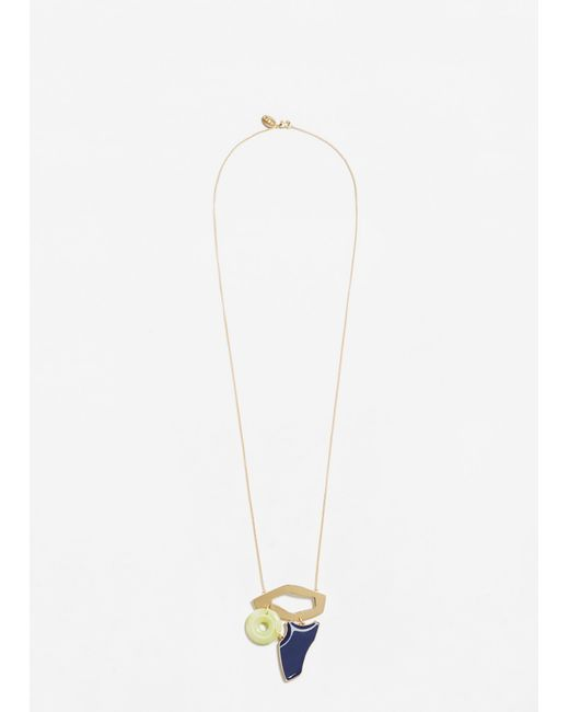 Mango | Metallic Geometric Pendant Necklace | Lyst