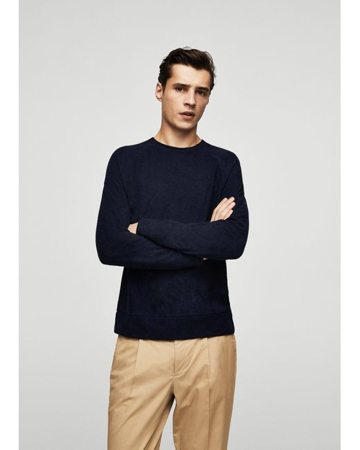 Mango | Blue Textured Sweater for Men | Lyst