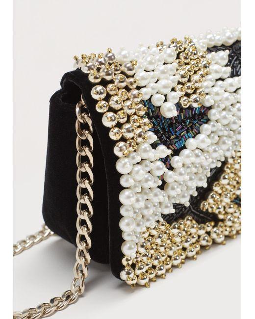 Violeta by Mango | Black Chain Bead Bag | Lyst