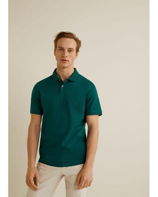 abc328bcb71d Mango - Green Contrast-edge Cotton Polo Shirt for Men - Lyst ...