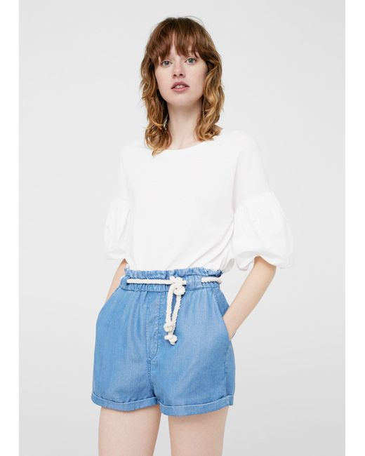 Mango | Blue Rope Denim Short | Lyst